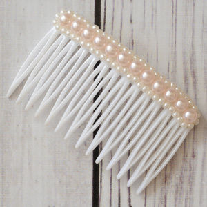 vtg pink beaded faux pearl hair comb decoration